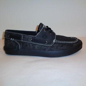 Sperry WAHOO 2-EYE Black Canvas Boat Shoes